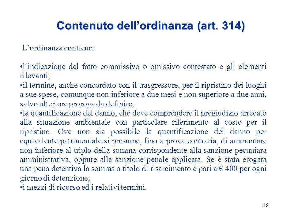 18 Contenuto dell'ordinanza (art. 314) L'ordinanza contiene: l'indicazione del fatto commissivo o omissivo contestato e gli elementi rilevanti; il ter