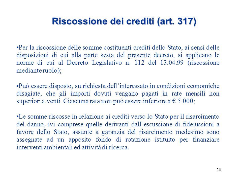 20 Riscossione dei crediti (art. 317) Per la riscossione delle somme costituenti crediti dello Stato, ai sensi delle disposizioni di cui alla parte se