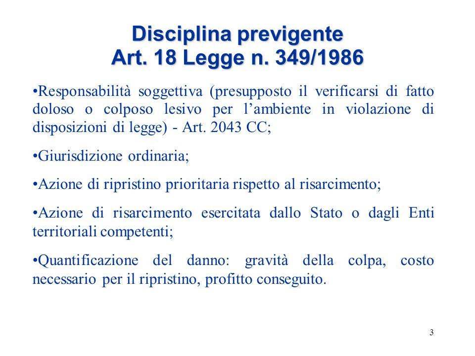3 Disciplina previgente Art. 18 Legge n. 349/1986 Responsabilità soggettiva (presupposto il verificarsi di fatto doloso o colposo lesivo per l'ambient