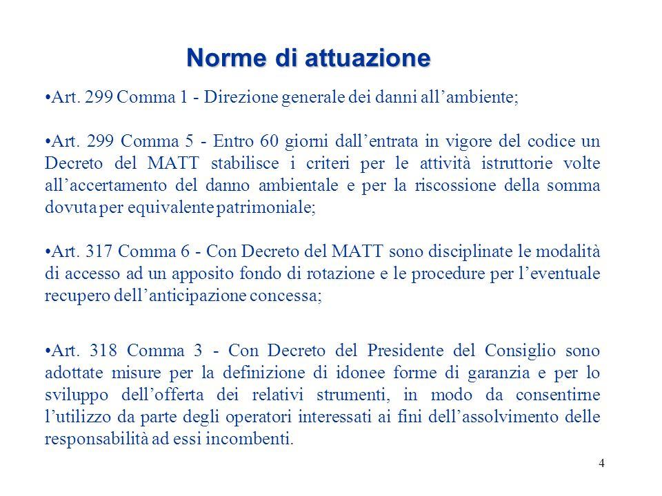 4 Norme di attuazione Art. 299 Comma 1 - Direzione generale dei danni all'ambiente; Art. 299 Comma 5 - Entro 60 giorni dall'entrata in vigore del codi