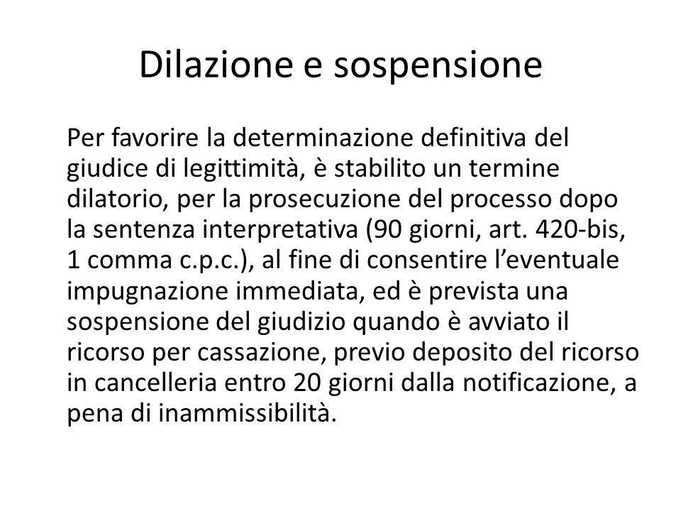 Dilazione e sospensione Per favorire la determinazione definitiva del giudice di legittimità, è stabilito un termine dilatorio, per la prosecuzione del processo dopo la sentenza interpretativa (90 giorni, art.