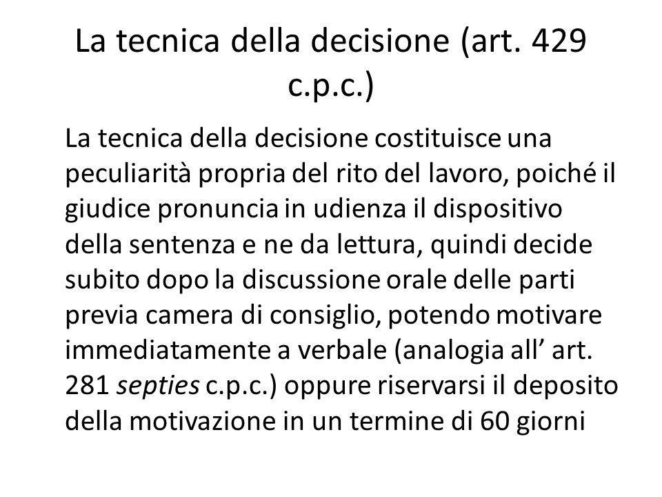 La tecnica della decisione (art.