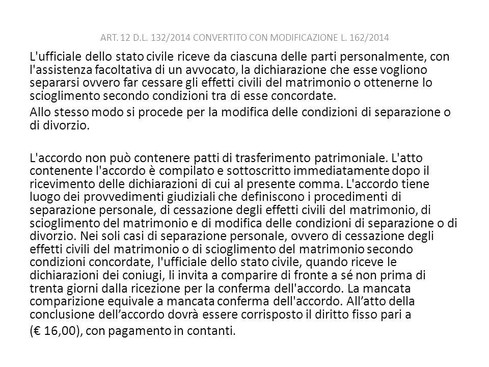 ART. 12 D.L. 132/2014 CONVERTITO CON MODIFICAZIONE L. 162/2014 L'ufficiale dello stato civile riceve da ciascuna delle parti personalmente, con l'assi