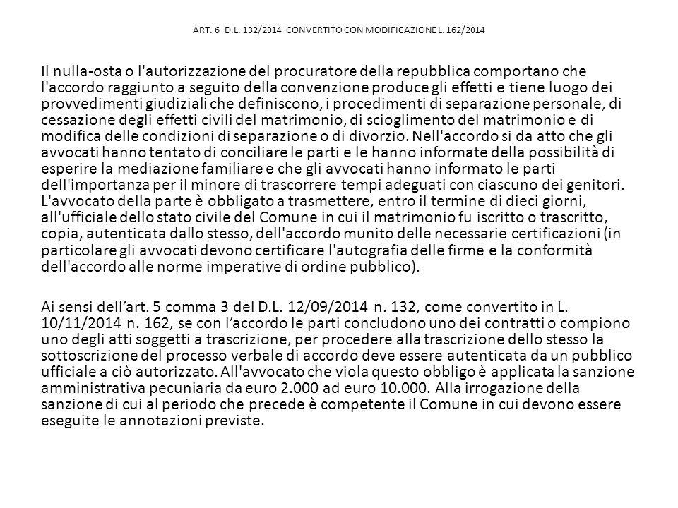 ART. 6 D.L. 132/2014 CONVERTITO CON MODIFICAZIONE L. 162/2014 Il nulla-osta o l'autorizzazione del procuratore della repubblica comportano che l'accor