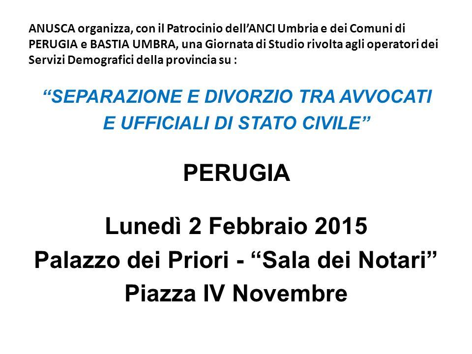 ANUSCA organizza, con il Patrocinio dell'ANCI Umbria e dei Comuni di PERUGIA e BASTIA UMBRA, una Giornata di Studio rivolta agli operatori dei Servizi