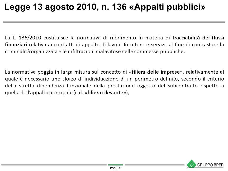| Strettamente riservato e confidenziale Pag. | 4 Legge 13 agosto 2010, n. 136 «Appalti pubblici» La L. 136/2010 costituisce la normativa di riferimen