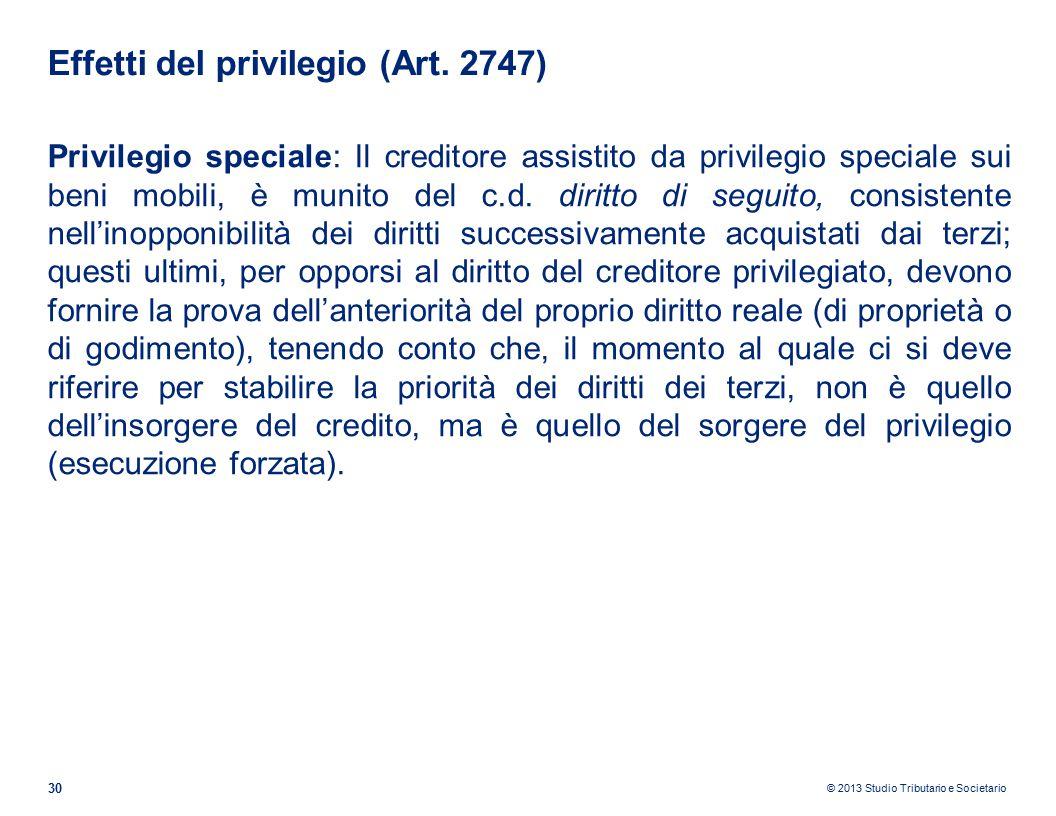 © 2013 Studio Tributario e Societario Effetti del privilegio (Art.