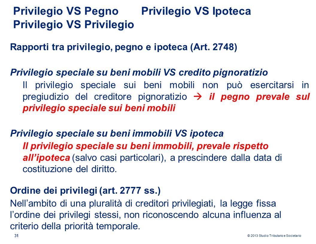 © 2013 Studio Tributario e Societario Privilegio VS PegnoPrivilegio VS Ipoteca Privilegio VS Privilegio 31 Rapporti tra privilegio, pegno e ipoteca (Art.