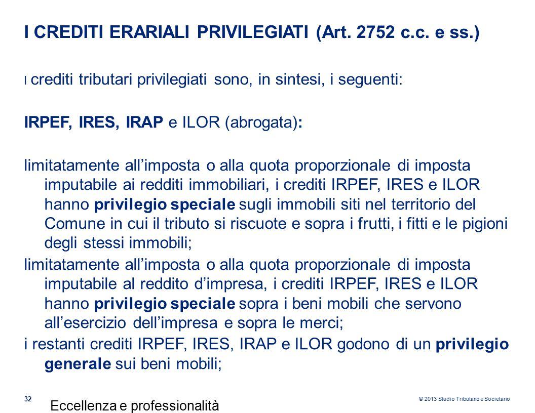 © 2013 Studio Tributario e Societario I CREDITI ERARIALI PRIVILEGIATI (Art.