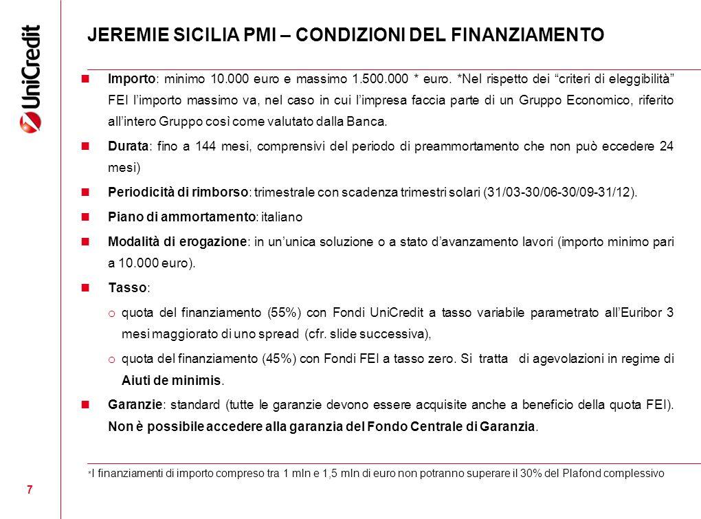 7 JEREMIE SICILIA PMI – CONDIZIONI DEL FINANZIAMENTO Importo: minimo 10.000 euro e massimo 1.500.000 * euro.