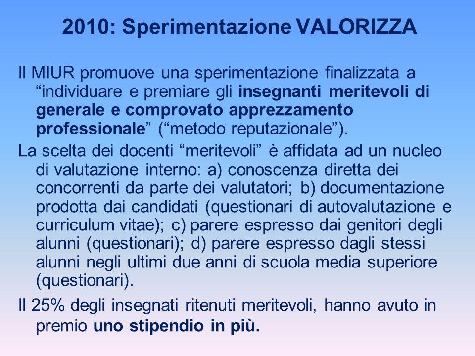 """2010: Sperimentazione VALORIZZA Il MIUR promuove una sperimentazione finalizzata a """"individuare e premiare gli insegnanti meritevoli di generale e com"""