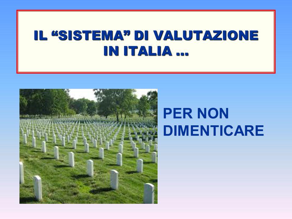 """IL """"SISTEMA"""" DI VALUTAZIONE IN ITALIA … PER NON DIMENTICARE"""