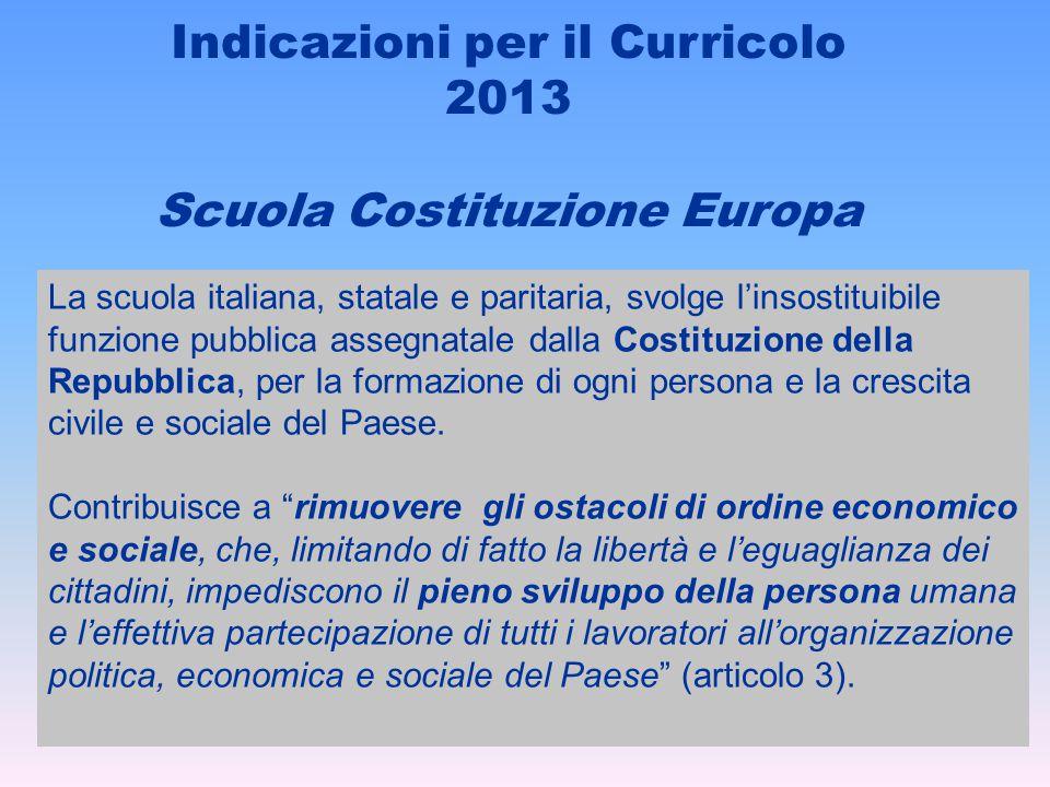Indicazioni per il Curricolo 2013 Scuola Costituzione Europa La scuola italiana, statale e paritaria, svolge l'insostituibile funzione pubblica assegn
