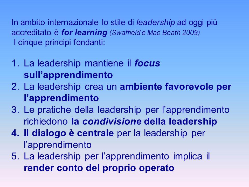 In ambito internazionale lo stile di leadership ad oggi più accreditato è for learning (Swaffield e Mac Beath 2009) I cinque principi fondanti: 1.La l