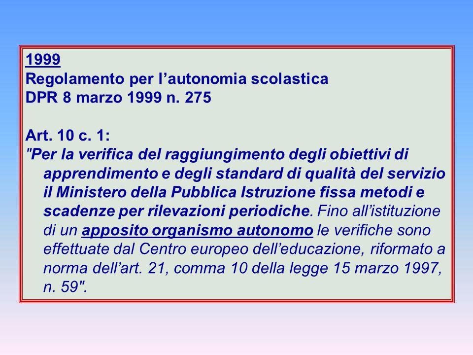 1999 Regolamento per l'autonomia scolastica DPR 8 marzo 1999 n. 275 Art. 10 c. 1: