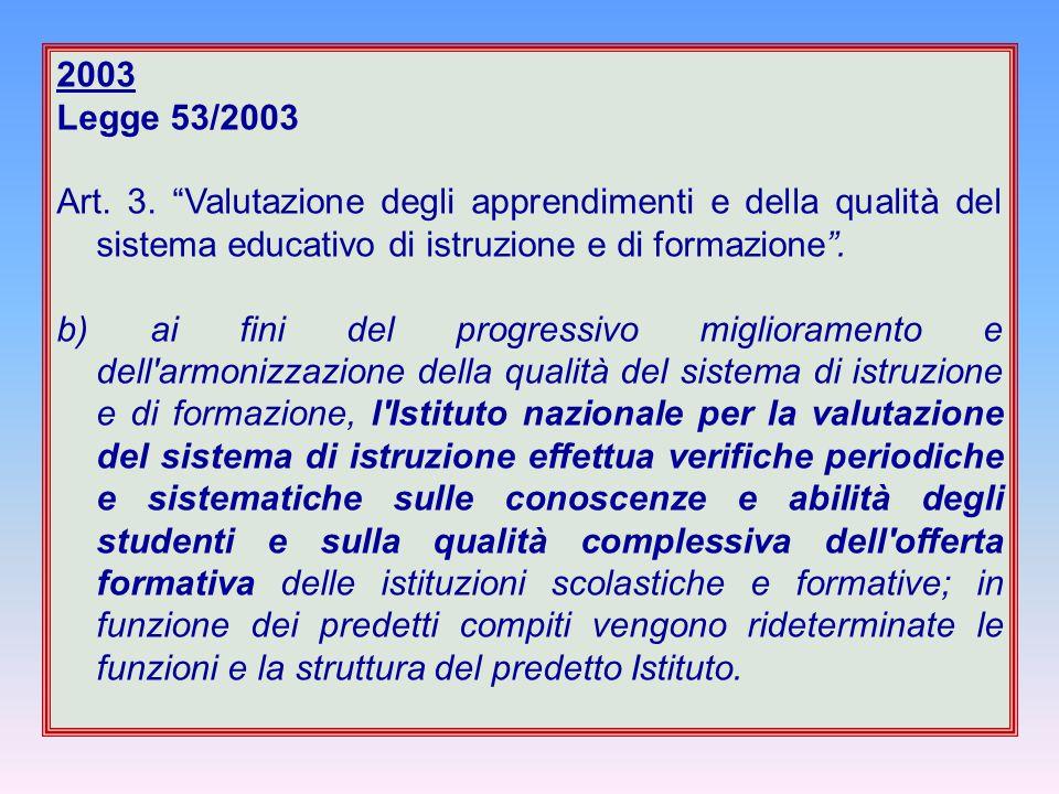 """2003 Legge 53/2003 Art. 3. """"Valutazione degli apprendimenti e della qualità del sistema educativo di istruzione e di formazione"""". b) ai fini del progr"""