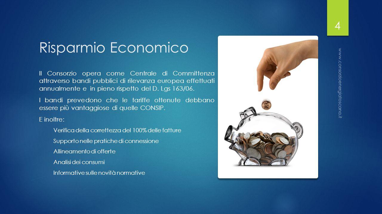 Risparmio Economico Il Consorzio opera come Centrale di Committenza attraverso bandi pubblici di rilevanza europea effettuati annualmente e in pieno rispetto del D.