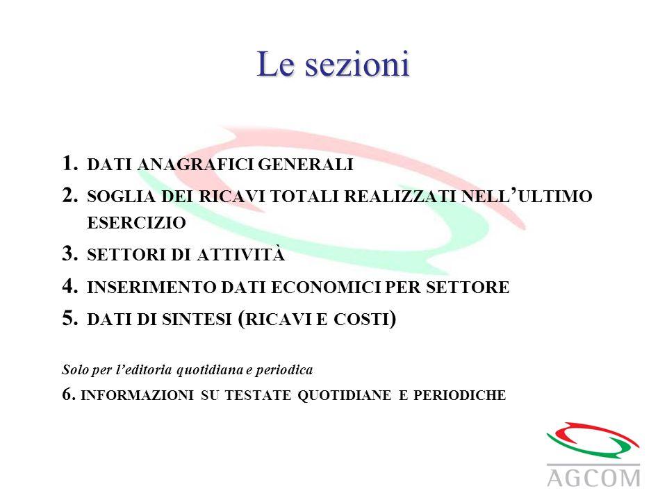 Le sezioni 1. DATI ANAGRAFICI GENERALI 2.