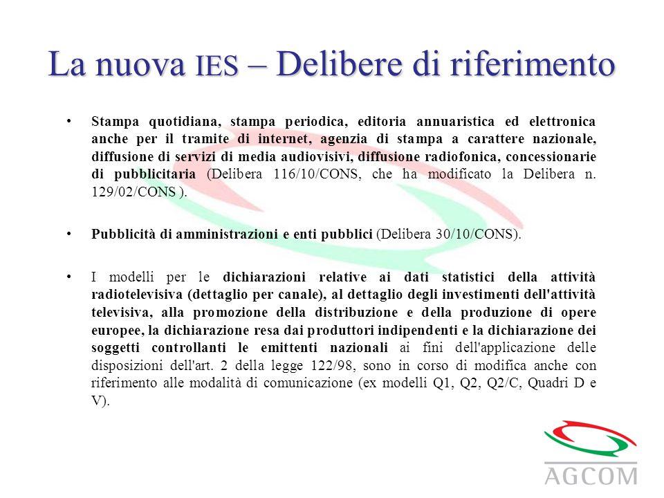 La nuova IES – Delibere di riferimento Stampa quotidiana, stampa periodica, editoria annuaristica ed elettronica anche per il tramite di internet, age