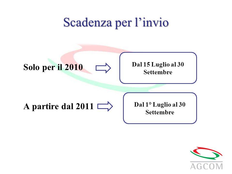 Scadenza per l'invio Solo per il 2010 A partire dal 2011 Dal 15 Luglio al 30 Settembre Dal 1° Luglio al 30 Settembre