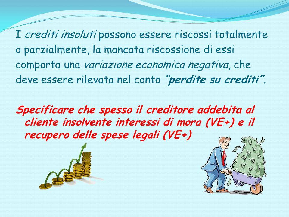 I crediti insoluti possono essere riscossi totalmente o parzialmente, la mancata riscossione di essi comporta una variazione economica negativa, che d