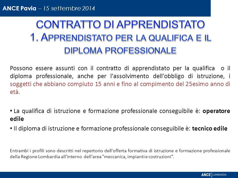 Possono essere assunti con il contratto di apprendistato per la qualifica o il diploma professionale, anche per l assolvimento dell obbligo di istruzione, i soggetti che abbiano compiuto 15 anni e fino al compimento del 25esimo anno di età.