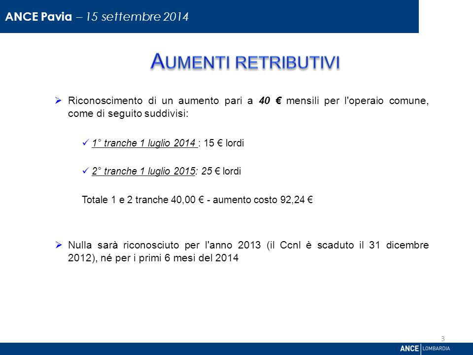  Riconoscimento di un aumento pari a 40 € mensili per l operaio comune, come di seguito suddivisi: 1° tranche 1 luglio 2014 : 15 € lordi 2° tranche 1 luglio 2015: 25 € lordi Totale 1 e 2 tranche 40,00 € - aumento costo 92,24 €  Nulla sarà riconosciuto per l anno 2013 (il Ccnl è scaduto il 31 dicembre 2012), né per i primi 6 mesi del 2014 Direzione Relazioni Industriali 3 ANCE Pavia – 15 settembre 2014