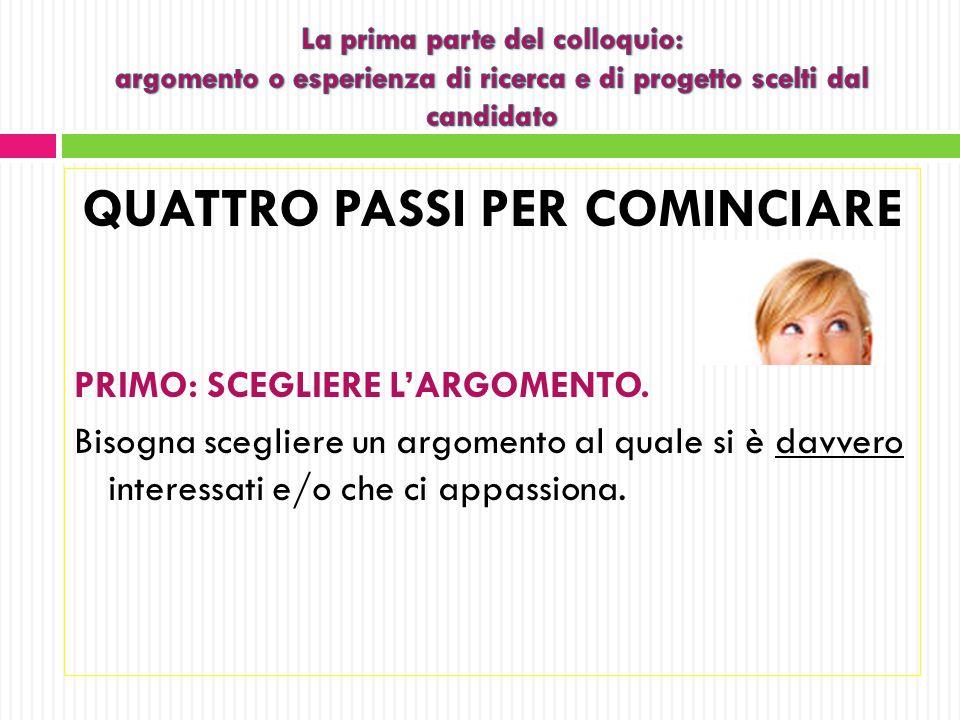 QUATTRO PASSI PER COMINCIARE SECONDO: SCRIVERE IL TITOLO (PROVVISORIO).