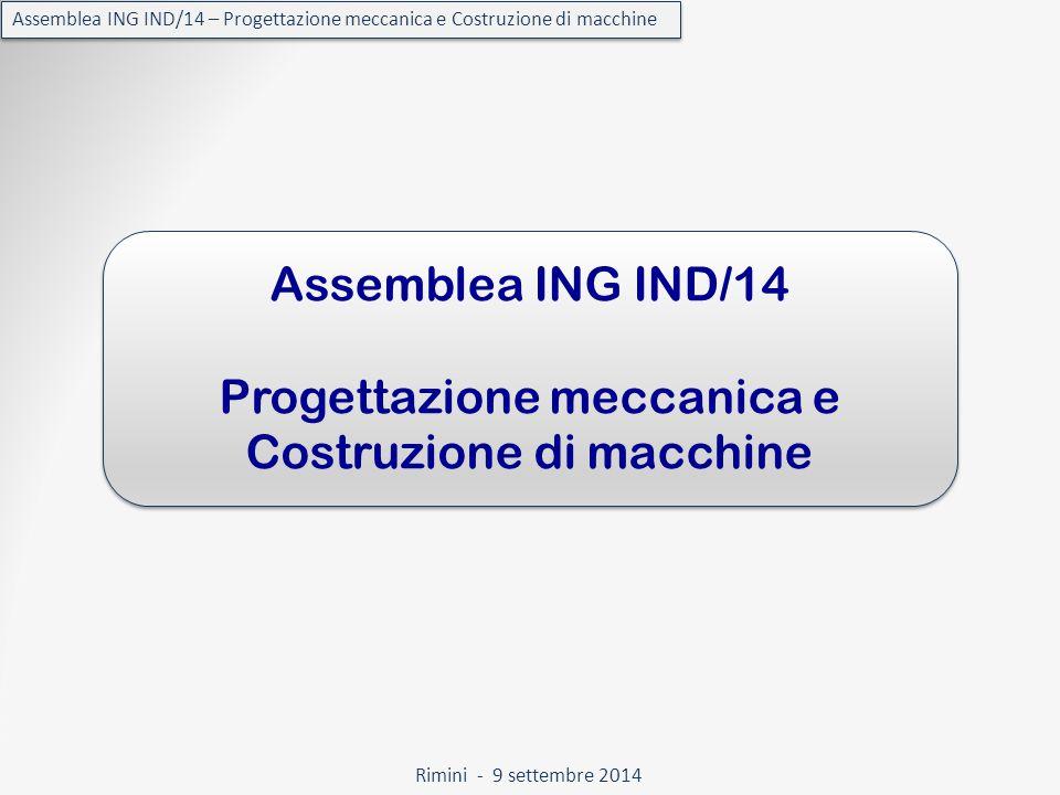 Rimini - 9 settembre 2014 Assemblea ING IND/14 – Progettazione meccanica e Costruzione di macchine Situazione SSD ING-IND/14 Politecnico di Milano ING-IND/14ING-IND/15ING-IND/21 Totale Ordinari13 Associati53 Ricercatori 3 6 9 (8+1) 5 (2+3)5 Totale 7 14 19 1811 40