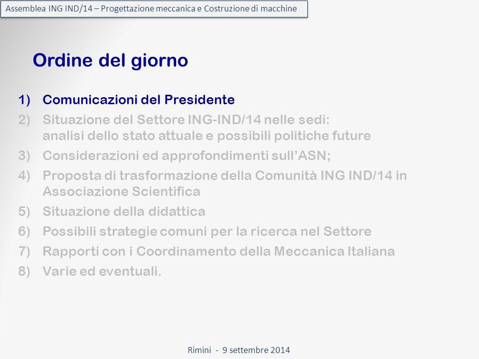 Rimini - 9 settembre 2014 Assemblea ING IND/14 – Progettazione meccanica e Costruzione di macchine Censimento della didattica Il modulo