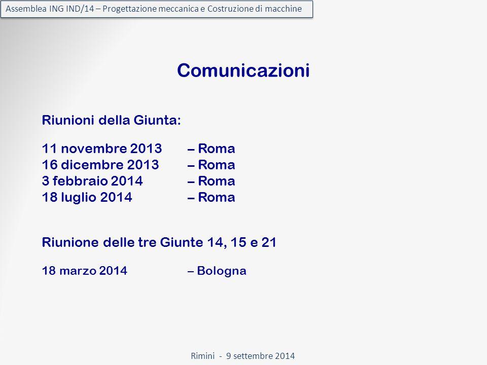 Rimini - 9 settembre 2014 Assemblea ING IND/14 – Progettazione meccanica e Costruzione di macchine Comunicazioni Riunioni della Giunta: Riunione delle tre Giunte 14, 15 e 21 11 novembre 2013 – Roma 16 dicembre 2013 – Roma 3 febbraio 2014 – Roma 18 luglio 2014 – Roma 18 marzo 2014 – Bologna
