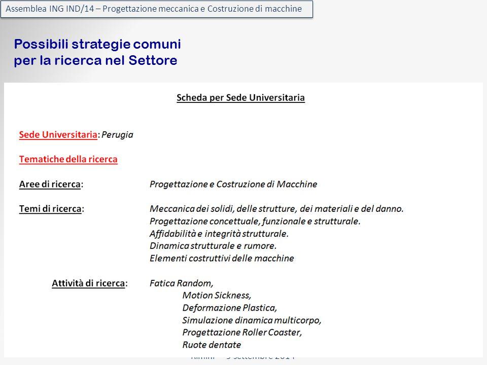 Rimini - 9 settembre 2014 Assemblea ING IND/14 – Progettazione meccanica e Costruzione di macchine Possibili strategie comuni per la ricerca nel Settore
