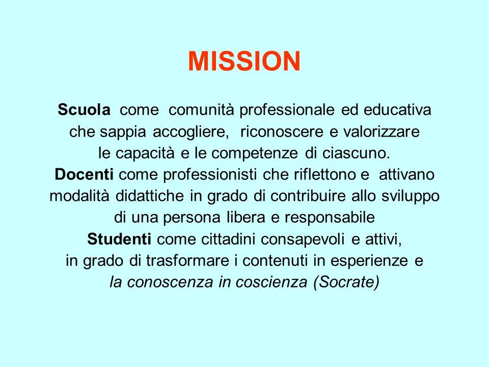 MISSION Scuola come comunità professionale ed educativa che sappia accogliere, riconoscere e valorizzare le capacità e le competenze di ciascuno. Doce