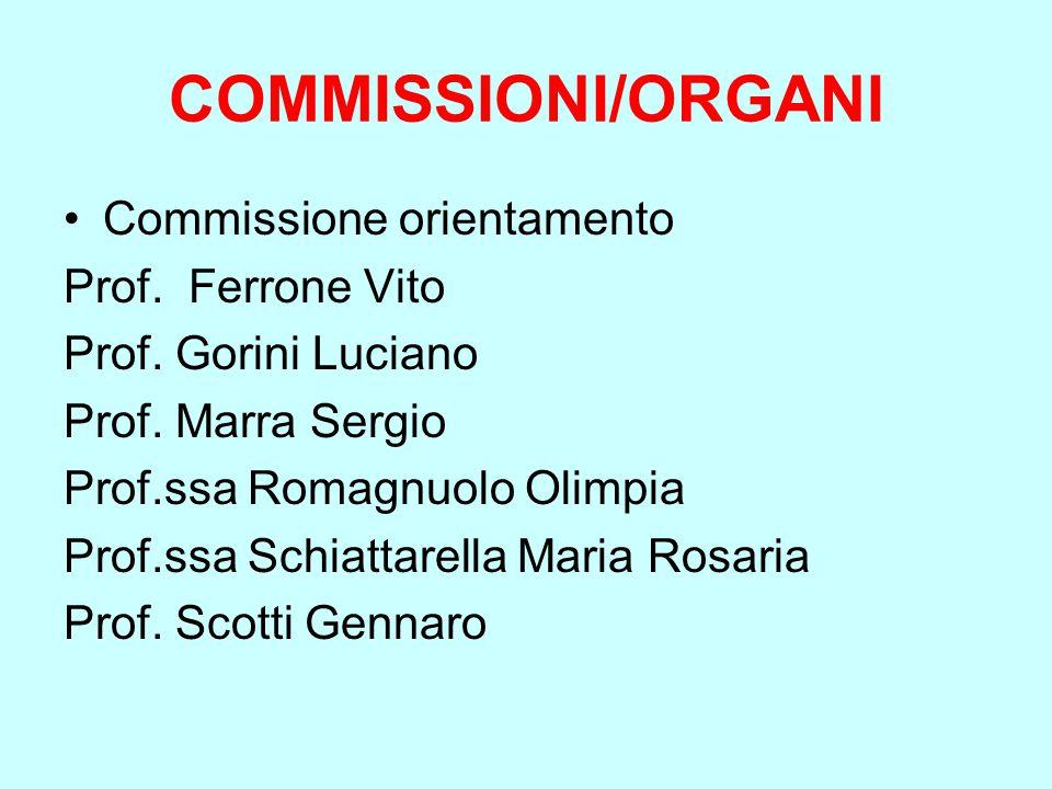 COMMISSIONI/ORGANI Commissione orientamento Prof. Ferrone Vito Prof. Gorini Luciano Prof. Marra Sergio Prof.ssa Romagnuolo Olimpia Prof.ssa Schiattare