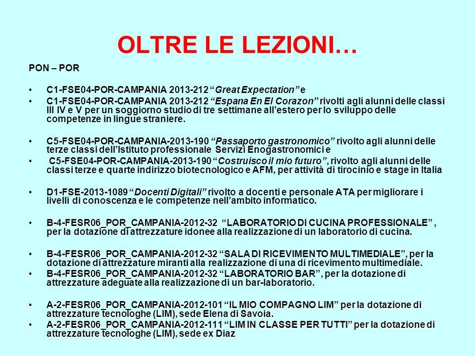 """OLTRE LE LEZIONI… PON – POR C1-FSE04-POR-CAMPANIA 2013-212 """"Great Expectation"""" e C1-FSE04-POR-CAMPANIA 2013-212 """"Espana En El Corazon"""" rivolti agli al"""