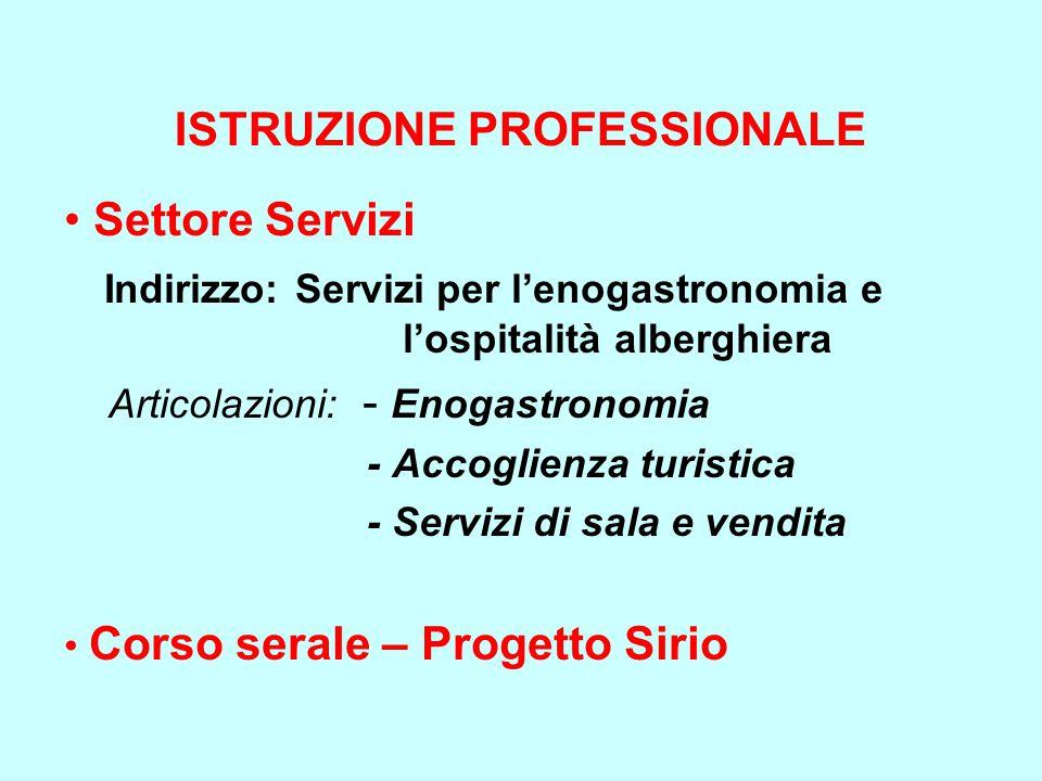 ISTRUZIONE PROFESSIONALE Settore Servizi Indirizzo: Servizi per l'enogastronomia e l'ospitalità alberghiera Articolazioni: - Enogastronomia - Accoglie