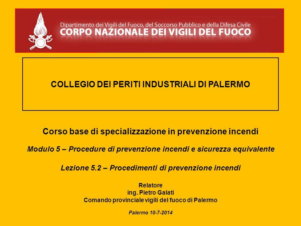 COLLEGIO DEI PERITI INDUSTRIALI DI PALERMO Corso base di specializzazione in prevenzione incendi Modulo 5 – Procedure di prevenzione incendi e sicurez