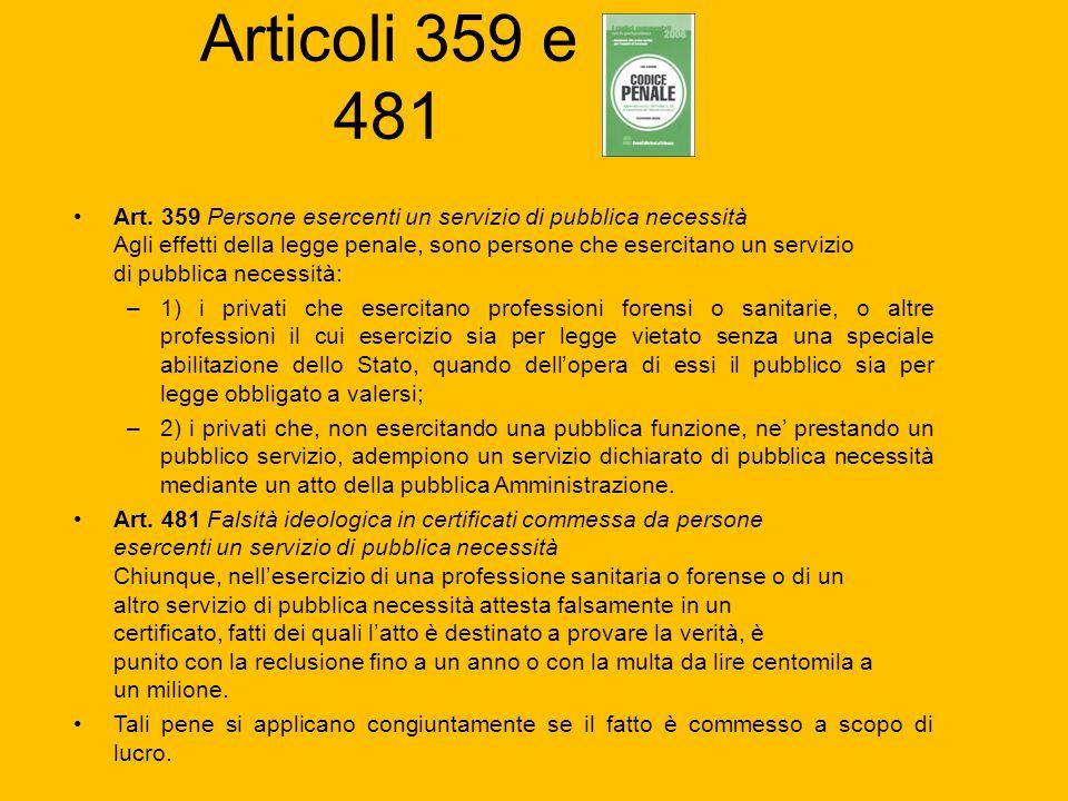 Articoli 359 e 481 Art. 359 Persone esercenti un servizio di pubblica necessità Agli effetti della legge penale, sono persone che esercitano un serviz
