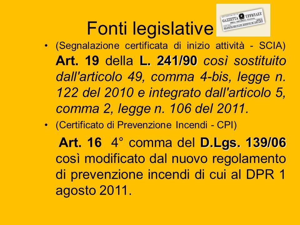 Fonti legislative L. 241/90(Segnalazione certificata di inizio attività - SCIA) Art. 19 della L. 241/90 così sostituito dall'articolo 49, comma 4-bis,