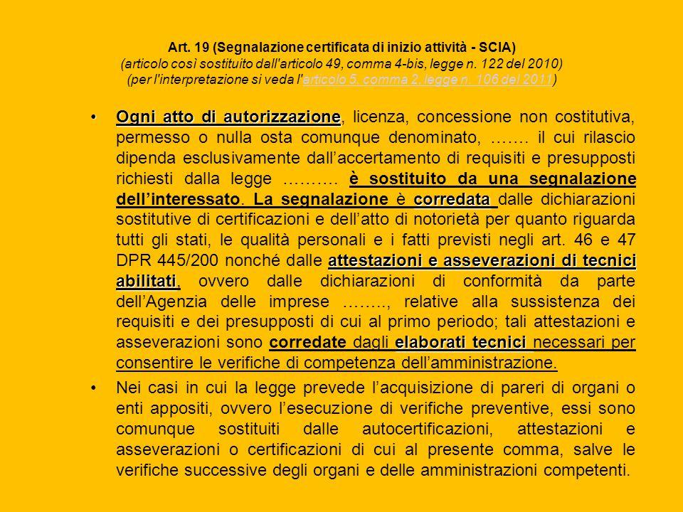 Art. 19 (Segnalazione certificata di inizio attività - SCIA) (articolo così sostituito dall'articolo 49, comma 4-bis, legge n. 122 del 2010) (per l'in