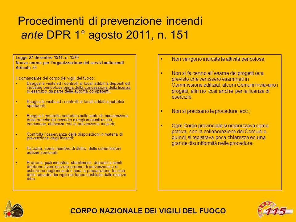 Procedimenti di prevenzione incendi ante DPR 1° agosto 2011, n. 151 Legge 27 dicembre 1941, n. 1570 Nuove norme per l'organizzazione dei servizi antin