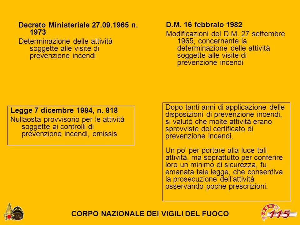 Decreto Ministeriale 27.09.1965 n. 1973 Determinazione delle attività soggette alle visite di prevenzione incendi Dopo tanti anni di applicazione dell