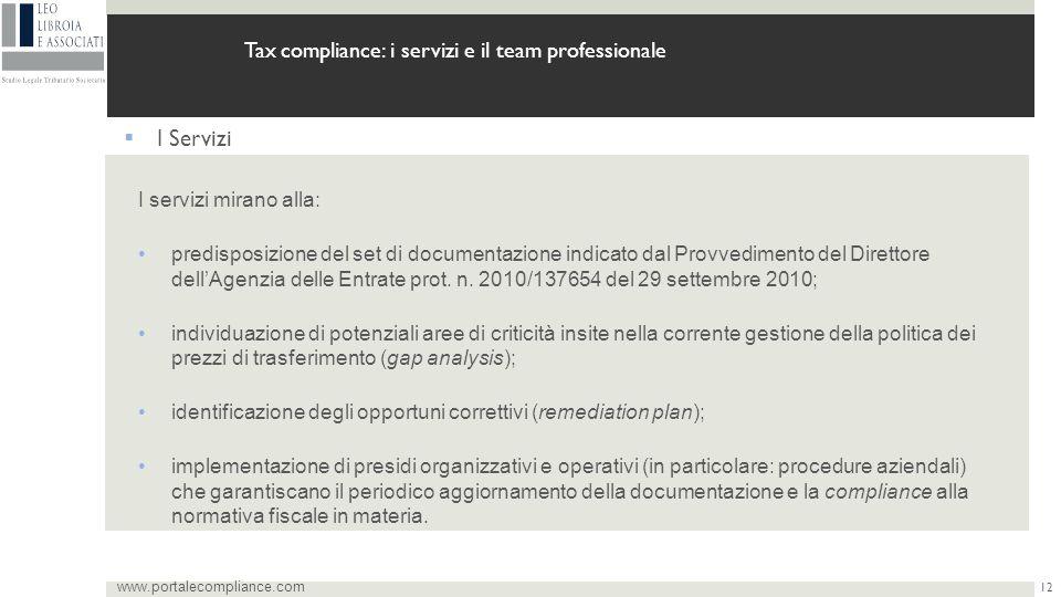 12 www.portalecompliance.com Tax compliance: i servizi e il team professionale  I Servizi I servizi mirano alla: predisposizione del set di documentazione indicato dal Provvedimento del Direttore dell'Agenzia delle Entrate prot.