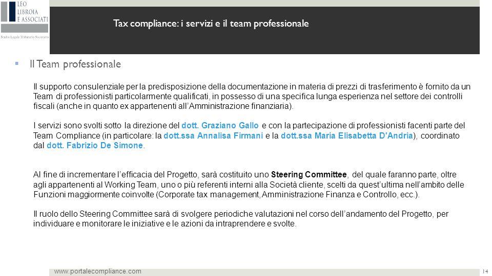 14 www.portalecompliance.com Tax compliance: i servizi e il team professionale  Il Team professionale Il supporto consulenziale per la predisposizion