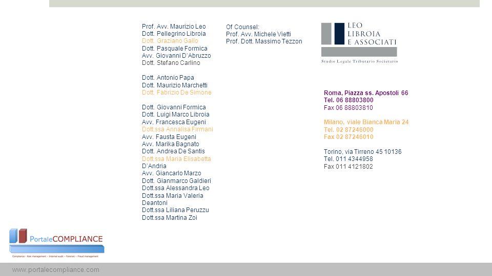 15 Prof. Avv. Maurizio Leo Dott. Pellegrino Libroia Dott. Graziano Gallo Dott. Pasquale Formica Avv. Giovanni D'Abruzzo Dott. Stefano Carlino Dott. An