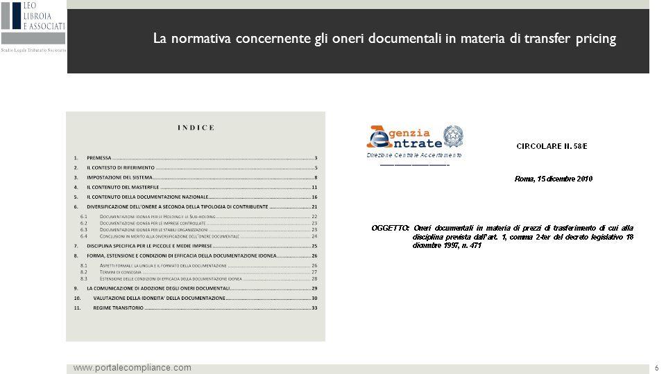 6 La normativa concernente gli oneri documentali in materia di transfer pricing