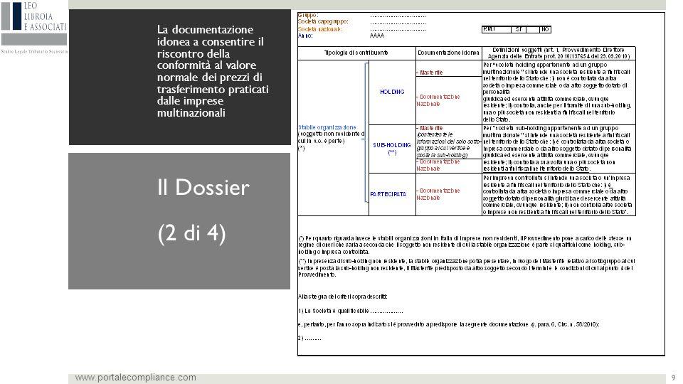 9 La documentazione idonea a consentire il riscontro della conformità al valore normale dei prezzi di trasferimento praticati dalle imprese multinazionali www.portalecompliance.com Il Dossier (2 di 4)