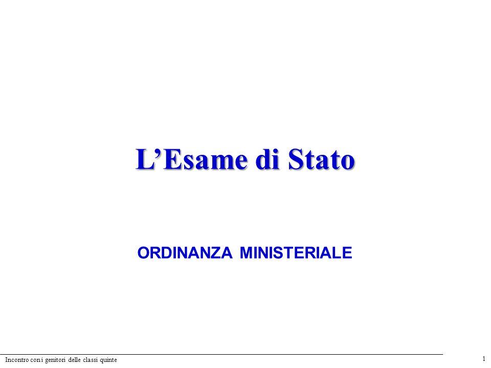 1 Incontro con i genitori delle classi quinte L'Esame di Stato ORDINANZA MINISTERIALE