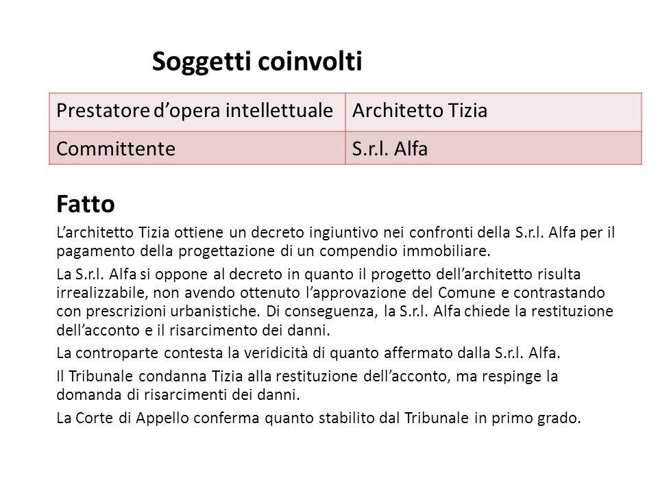 Soggetti coinvolti Fatto L'architetto Tizia ottiene un decreto ingiuntivo nei confronti della S.r.l. Alfa per il pagamento della progettazione di un c