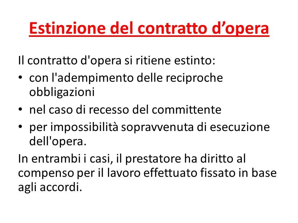 Estinzione del contratto d'opera Il contratto d'opera si ritiene estinto: con l'adempimento delle reciproche obbligazioni nel caso di recesso del comm